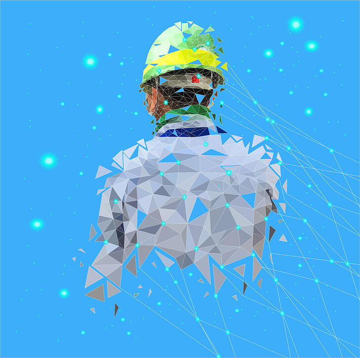 Abstract Man in Hard Hat